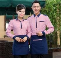 酒店工作服男女西餐厅咖啡厅餐饮制服服务员工作服长袖