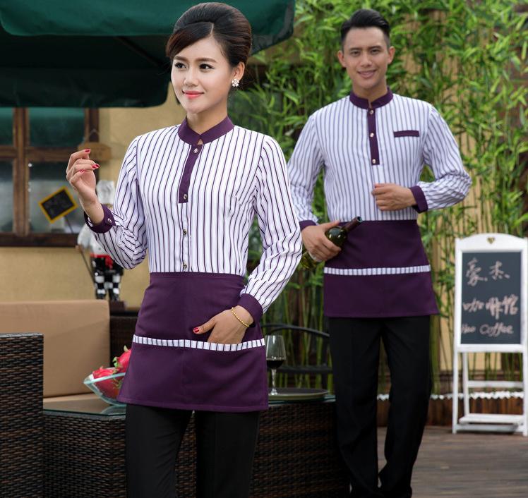 西餐厅工作服秋冬装服务员工作服长袖餐饮制服